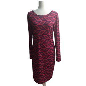 LuLaRoe Long Sleeve Red Geometric Dress, EUC